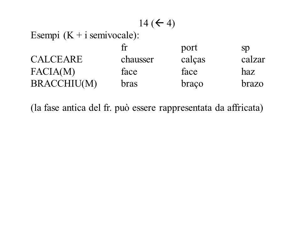 14 ( 4) Esempi (K + i semivocale): fr port sp. CALCEARE chausser calças calzar. FACIA(M) face face haz.