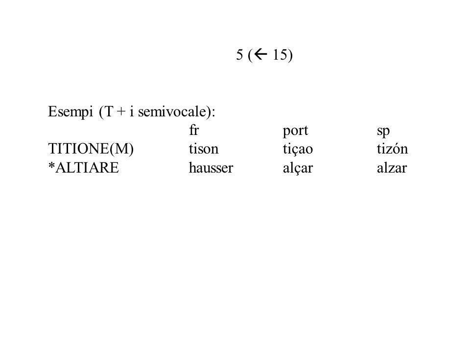 5 ( 15) Esempi (T + i semivocale): fr port sp.