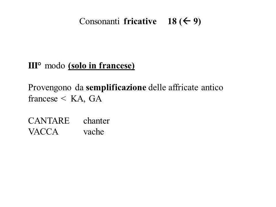 Consonanti fricative 18 ( 9)