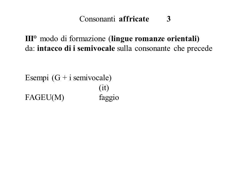 Consonanti affricate 3 III° modo di formazione (lingue romanze orientali) da: intacco di i semivocale sulla consonante che precede.