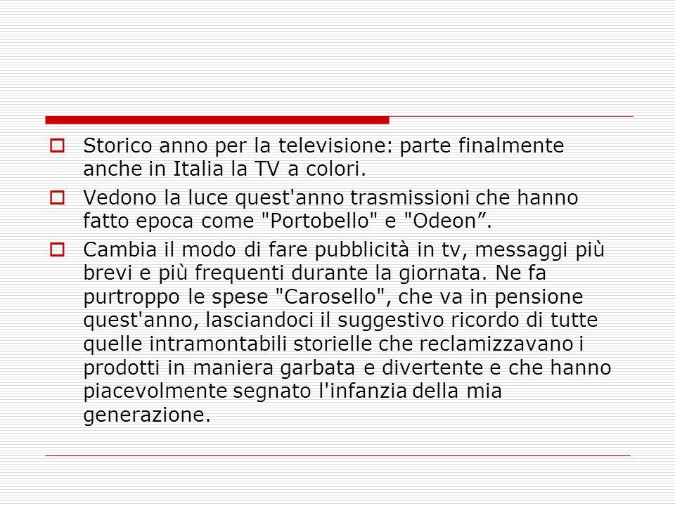 Storico anno per la televisione: parte finalmente anche in Italia la TV a colori.