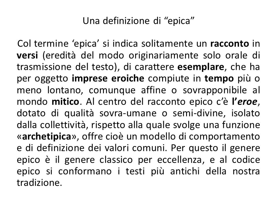 Una definizione di epica
