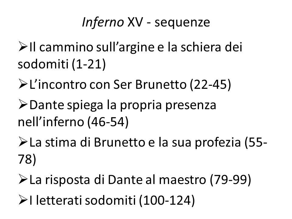 Inferno XV - sequenzeIl cammino sull'argine e la schiera dei sodomiti (1-21) L'incontro con Ser Brunetto (22-45)