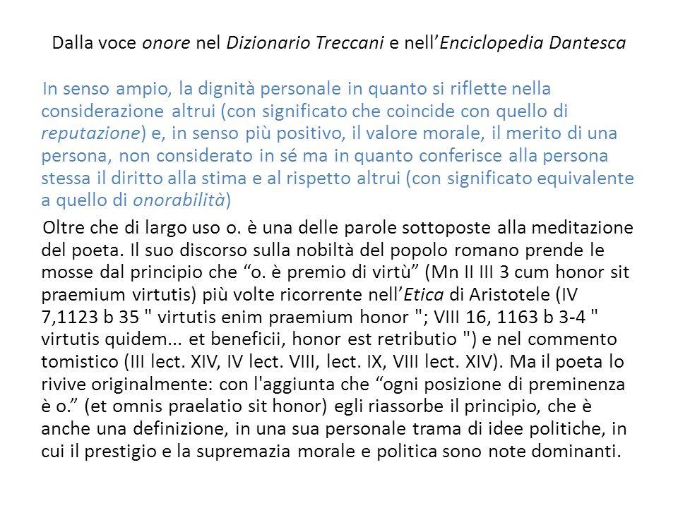 Dalla voce onore nel Dizionario Treccani e nell'Enciclopedia Dantesca