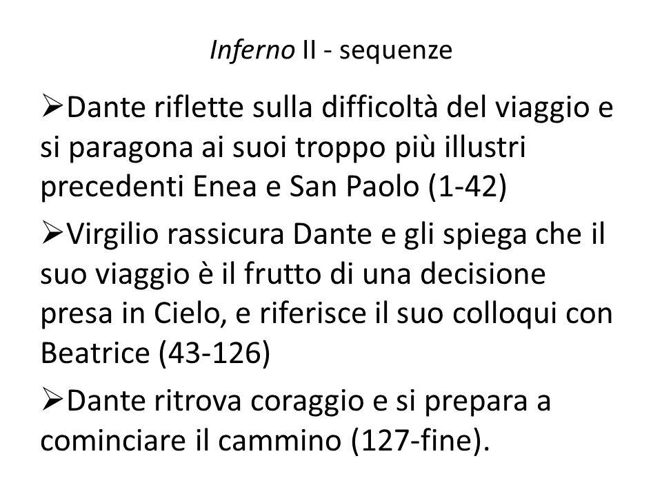 Inferno II - sequenzeDante riflette sulla difficoltà del viaggio e si paragona ai suoi troppo più illustri precedenti Enea e San Paolo (1-42)