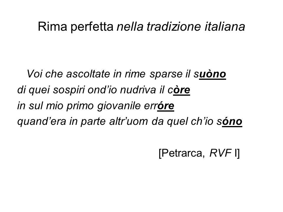 Rima perfetta nella tradizione italiana