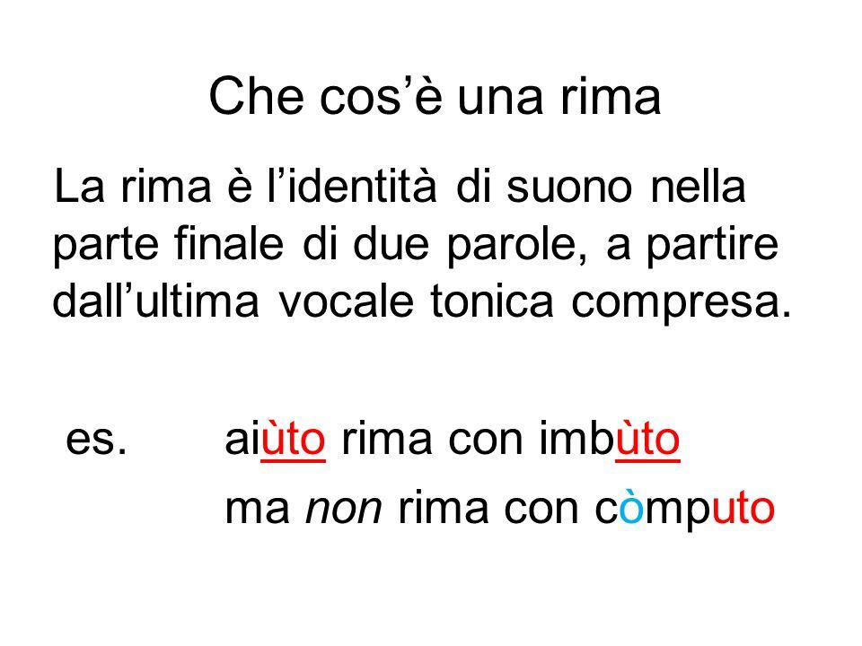 Che cos'è una rima La rima è l'identità di suono nella parte finale di due parole, a partire dall'ultima vocale tonica compresa.