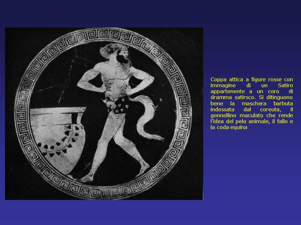 Coppa attica a figure rosse con immagine di un Satiro appartenente a un coro di dramma satirsco.