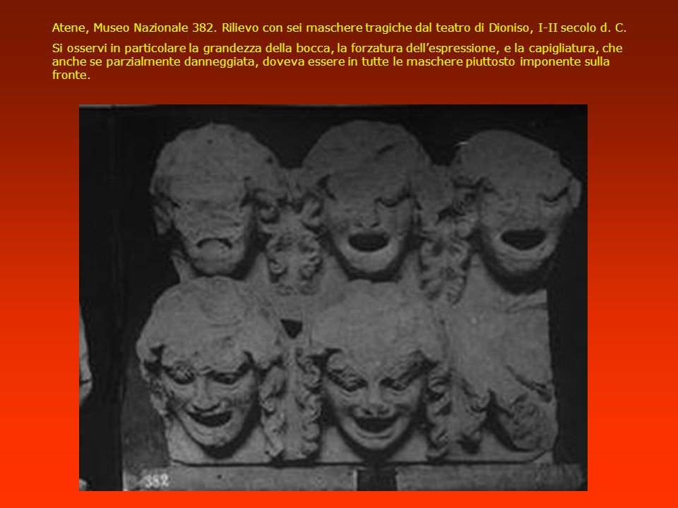 Atene, Museo Nazionale 382. Rilievo con sei maschere tragiche dal teatro di Dioniso, I-II secolo d. C.