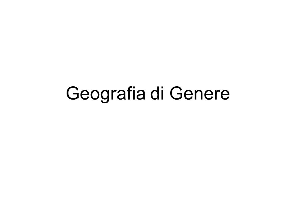 Geografia di Genere