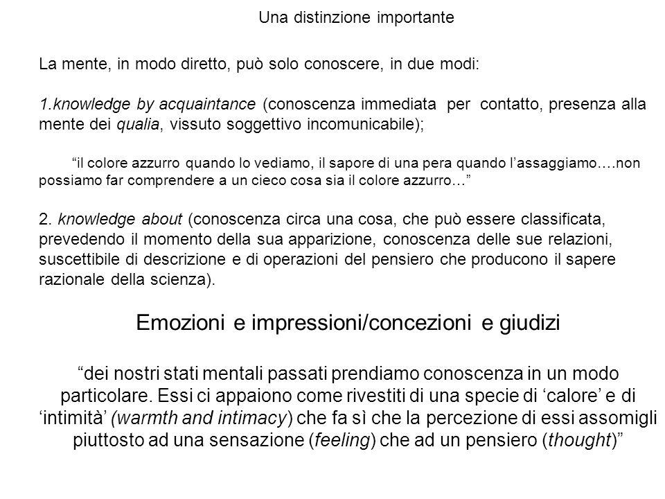 Emozioni e impressioni/concezioni e giudizi