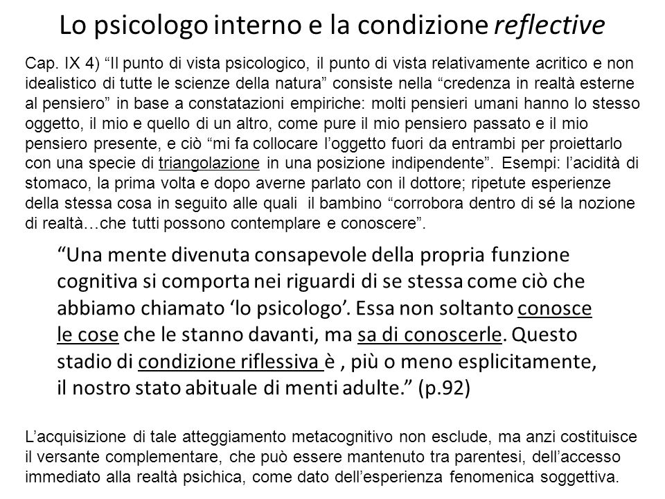 Lo psicologo interno e la condizione reflective