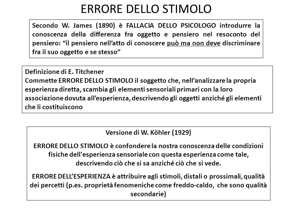 ERRORE DELLO STIMOLO
