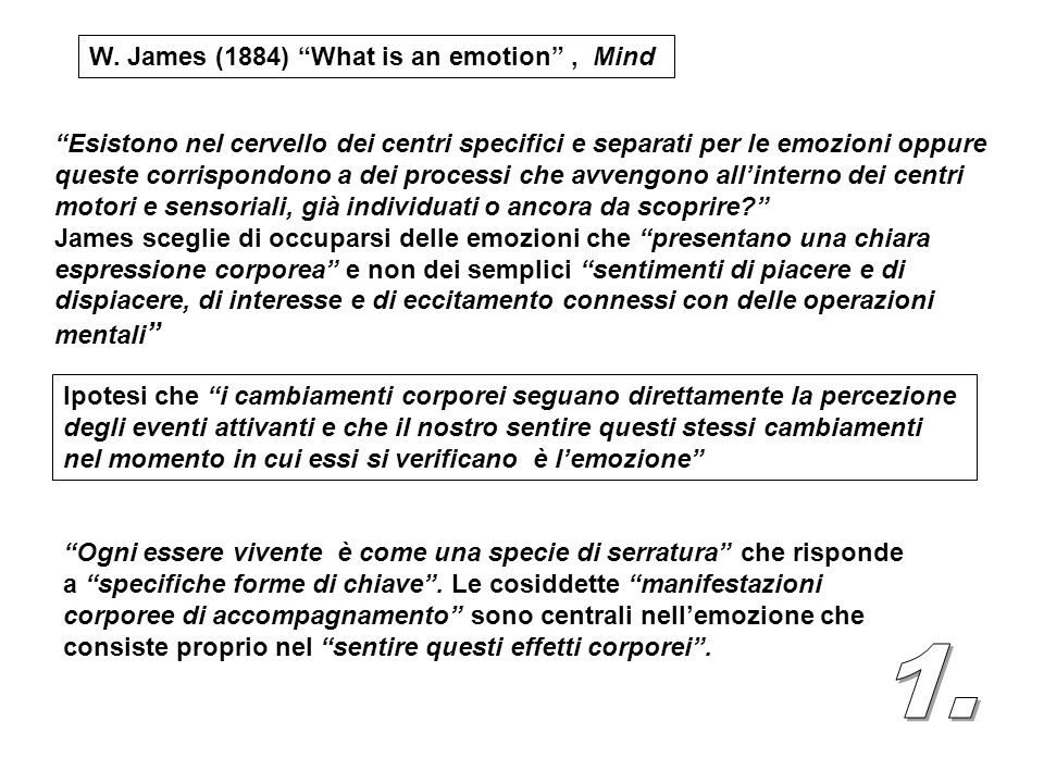 1. W. James (1884) What is an emotion , Mind