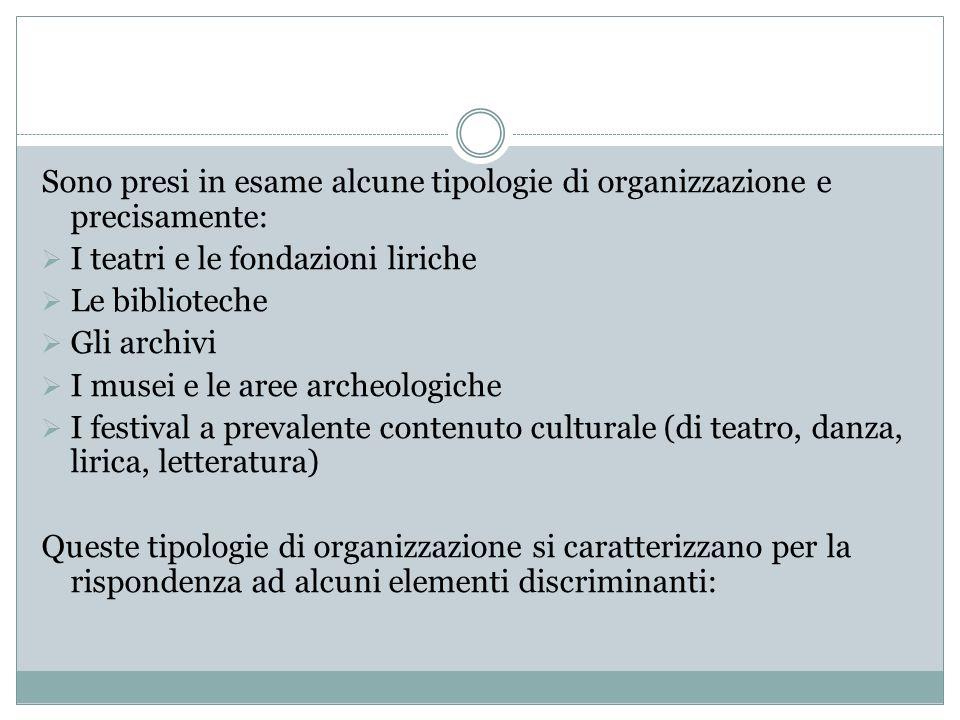Sono presi in esame alcune tipologie di organizzazione e precisamente:
