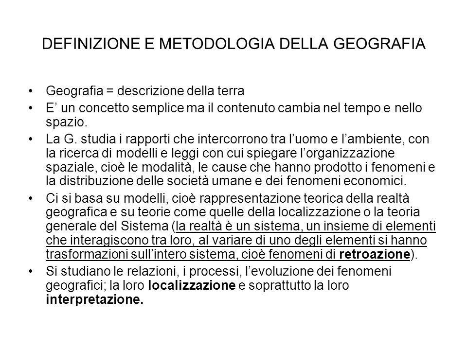 DEFINIZIONE E METODOLOGIA DELLA GEOGRAFIA