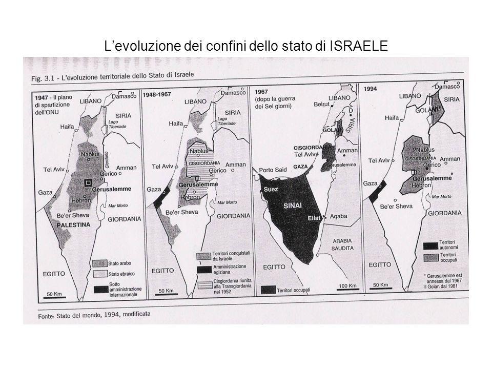 L'evoluzione dei confini dello stato di ISRAELE