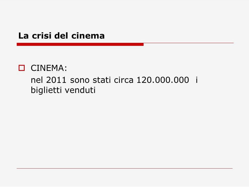 La crisi del cinema CINEMA: nel 2011 sono stati circa 120.000.000 i biglietti venduti