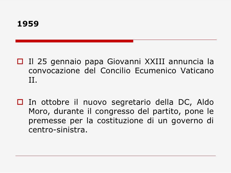 1959 Il 25 gennaio papa Giovanni XXIII annuncia la convocazione del Concilio Ecumenico Vaticano II.