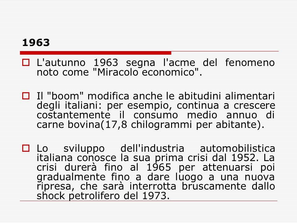 1963L autunno 1963 segna l acme del fenomeno noto come Miracolo economico .