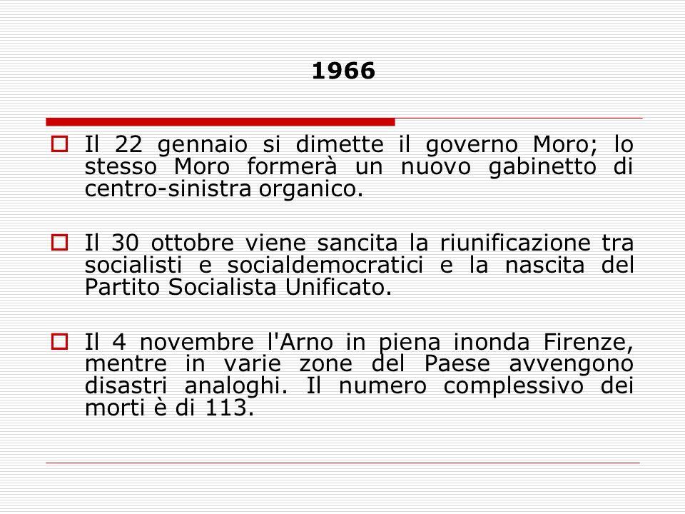 1966Il 22 gennaio si dimette il governo Moro; lo stesso Moro formerà un nuovo gabinetto di centro-sinistra organico.