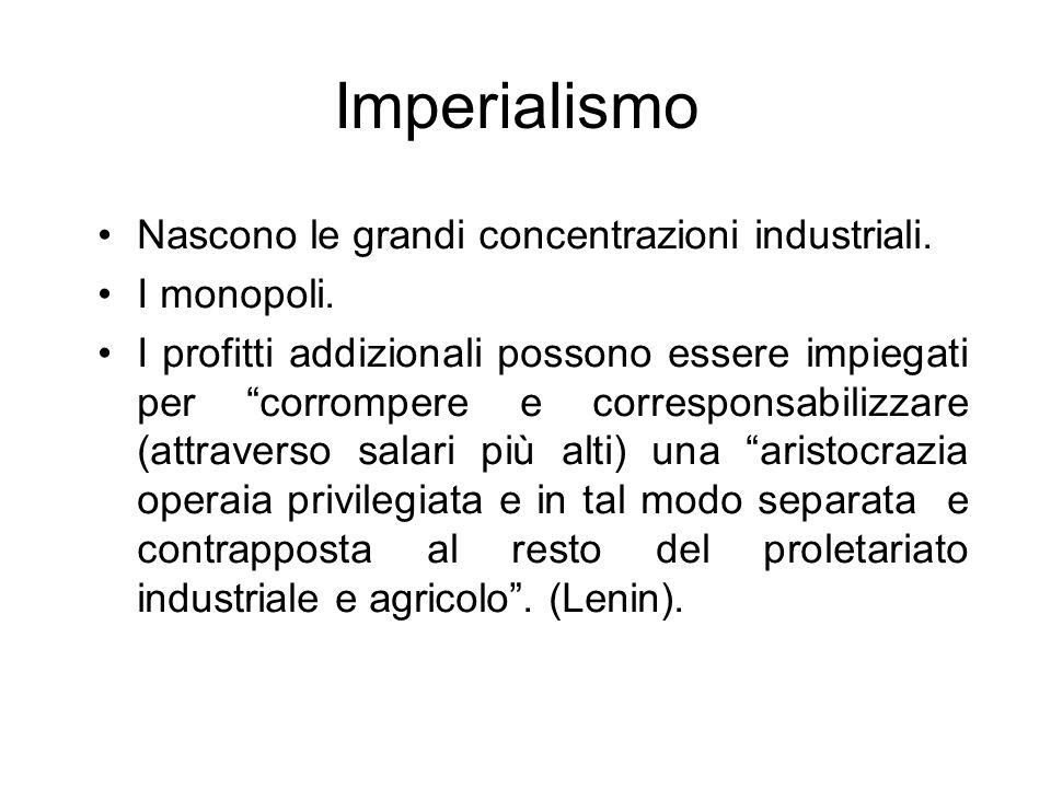 Imperialismo Nascono le grandi concentrazioni industriali. I monopoli.