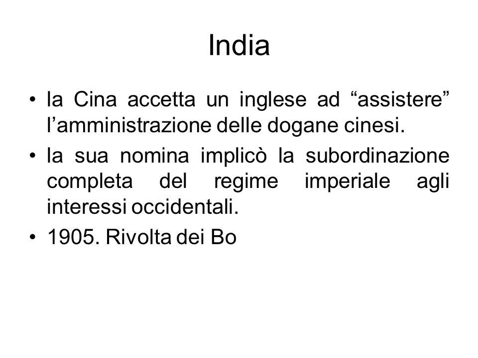 Indiala Cina accetta un inglese ad assistere l'amministrazione delle dogane cinesi.