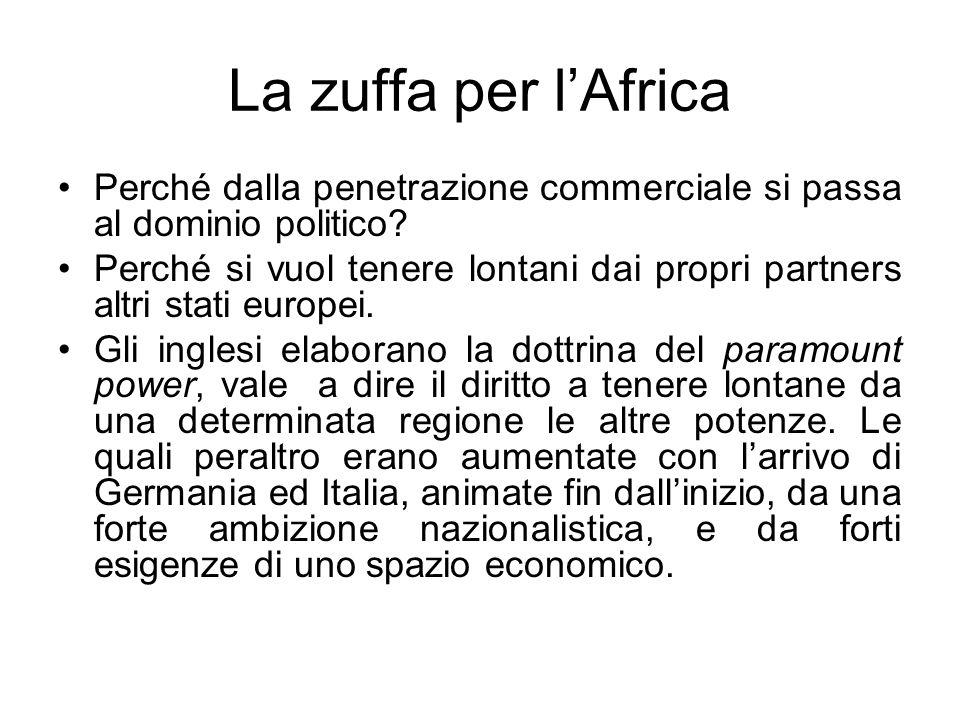 La zuffa per l'Africa Perché dalla penetrazione commerciale si passa al dominio politico