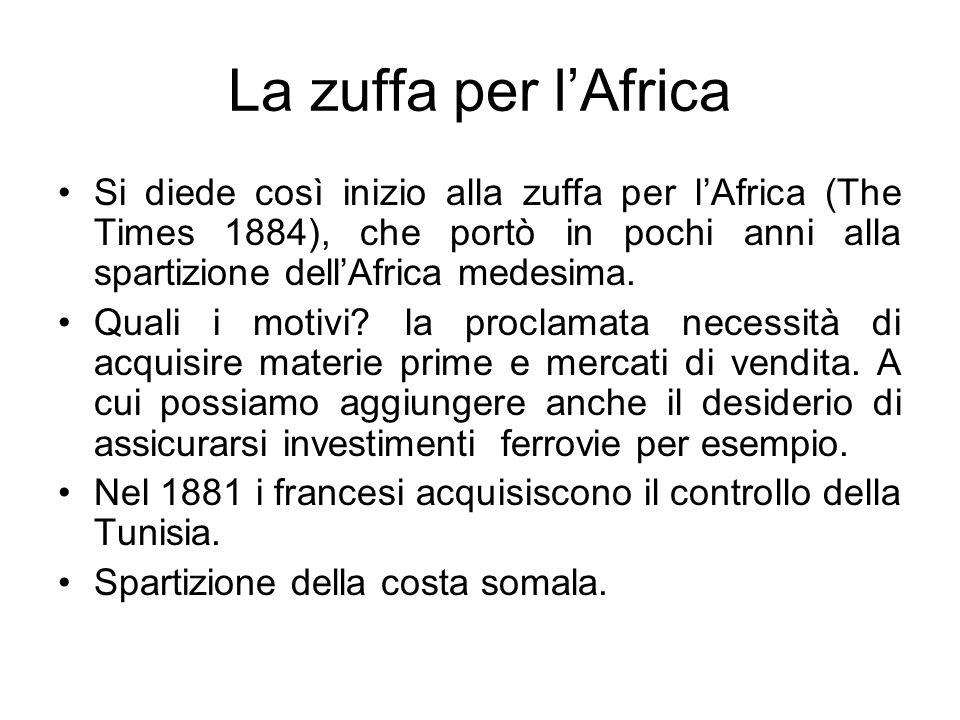 La zuffa per l'Africa Si diede così inizio alla zuffa per l'Africa (The Times 1884), che portò in pochi anni alla spartizione dell'Africa medesima.