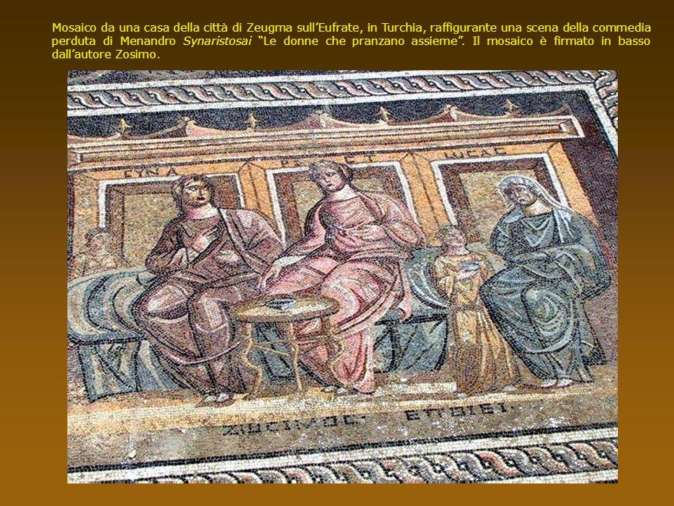 Mosaico da una casa della città di Zeugma sull'Eufrate, in Turchia, raffigurante una scena della commedia perduta di Menandro Synaristosai Le donne che pranzano assieme .