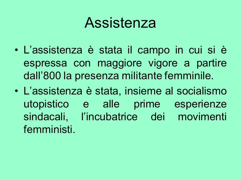 AssistenzaL'assistenza è stata il campo in cui si è espressa con maggiore vigore a partire dall'800 la presenza militante femminile.
