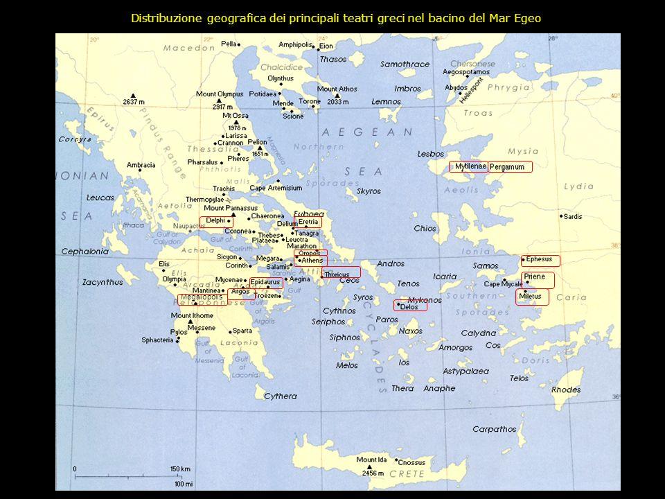 Distribuzione geografica dei principali teatri greci nel bacino del Mar Egeo