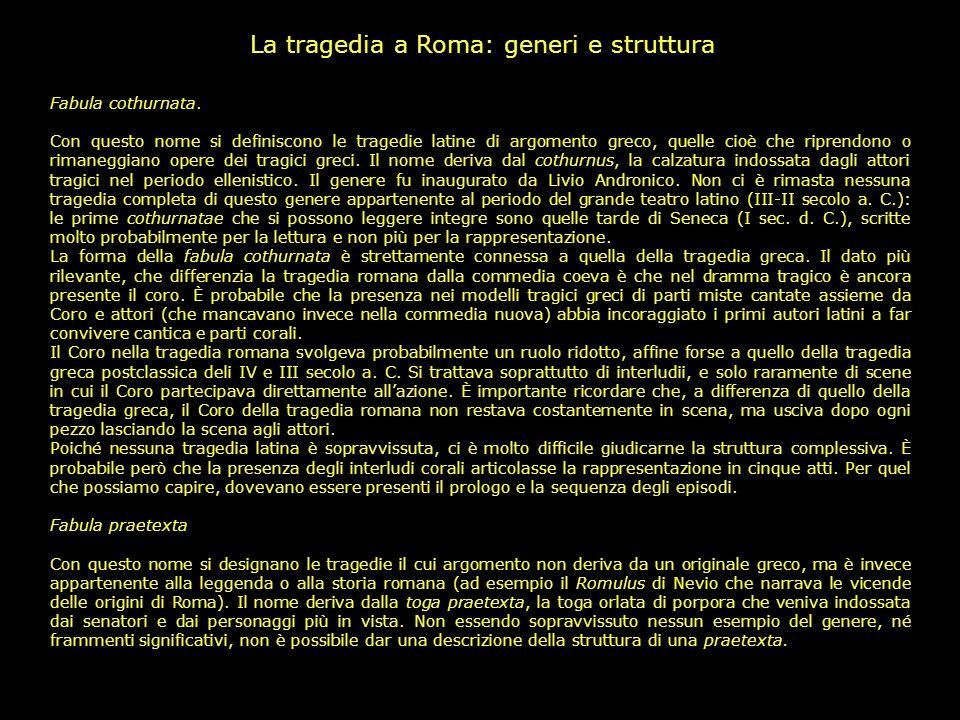 La tragedia a Roma: generi e struttura