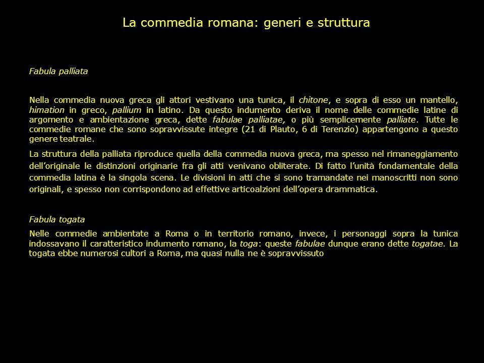 La commedia romana: generi e struttura