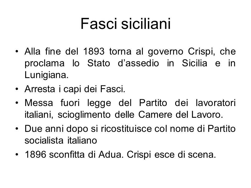 Fasci siciliani Alla fine del 1893 torna al governo Crispi, che proclama lo Stato d'assedio in Sicilia e in Lunigiana.