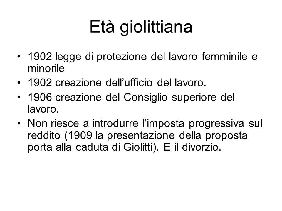 Età giolittiana 1902 legge di protezione del lavoro femminile e minorile. 1902 creazione dell'ufficio del lavoro.