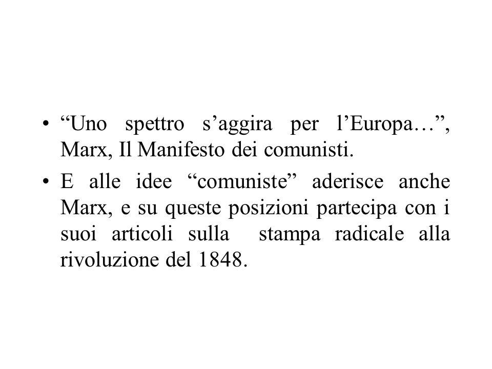 Uno spettro s'aggira per l'Europa… , Marx, Il Manifesto dei comunisti.