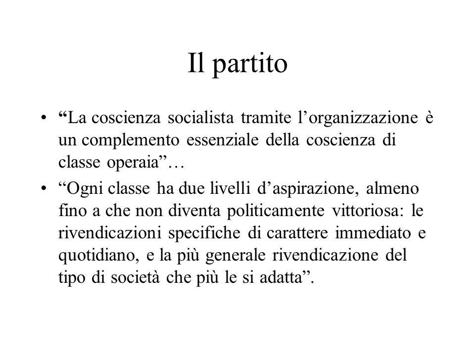 Il partito La coscienza socialista tramite l'organizzazione è un complemento essenziale della coscienza di classe operaia …