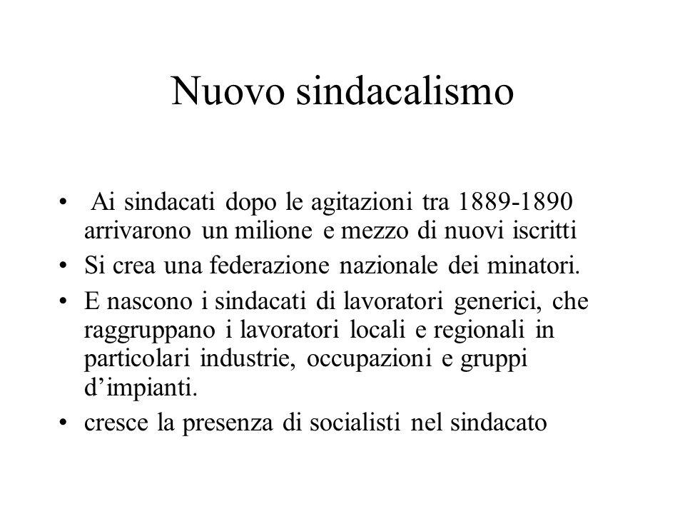 Nuovo sindacalismo Ai sindacati dopo le agitazioni tra 1889-1890 arrivarono un milione e mezzo di nuovi iscritti.