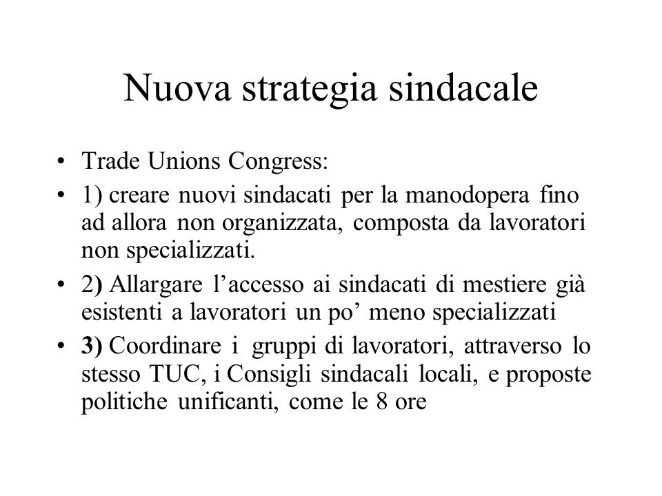 Nuova strategia sindacale