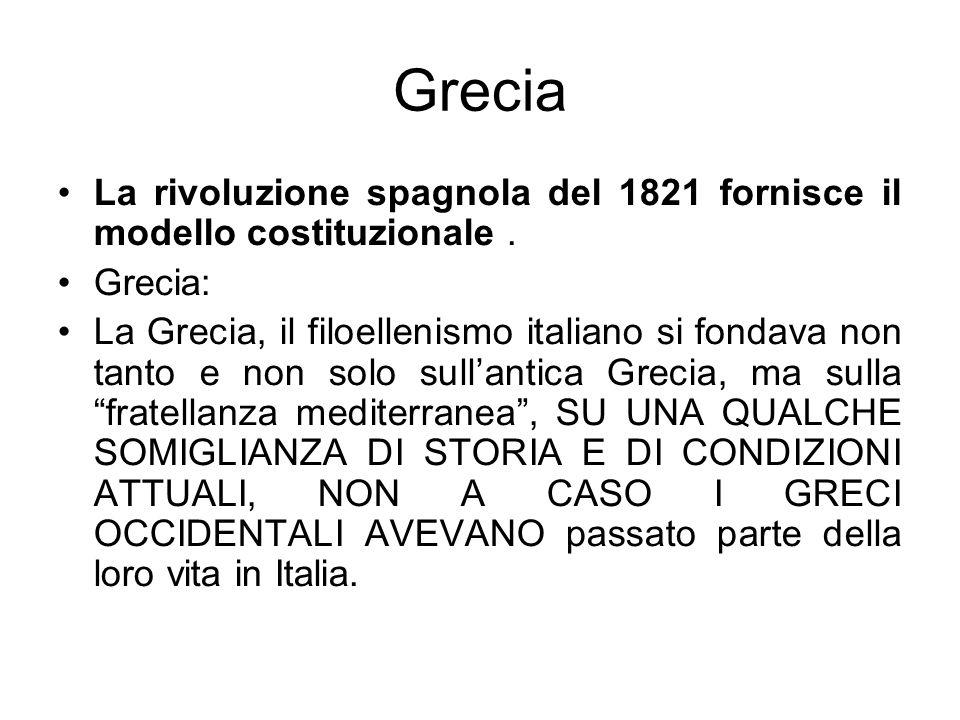 GreciaLa rivoluzione spagnola del 1821 fornisce il modello costituzionale . Grecia: