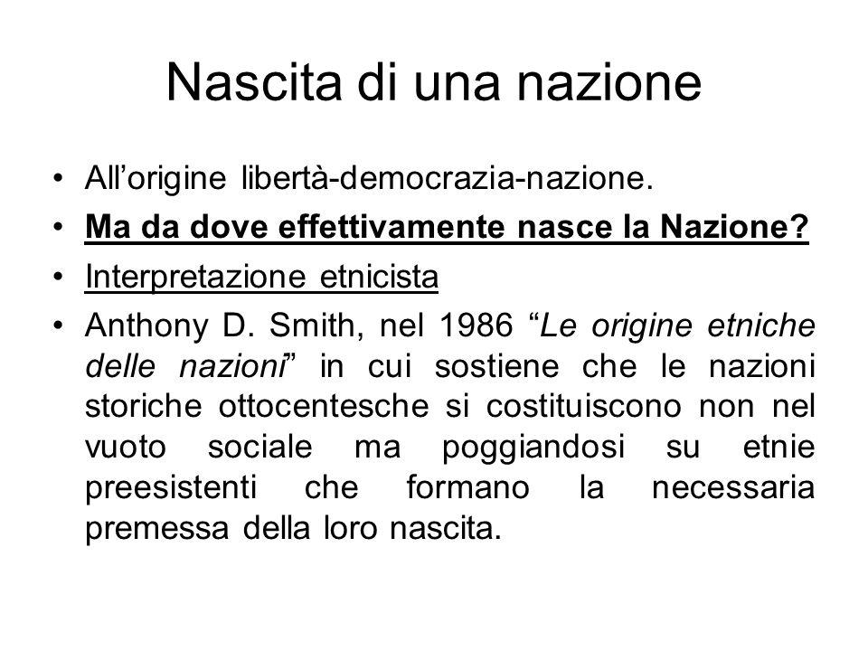 Nascita di una nazione All'origine libertà-democrazia-nazione.