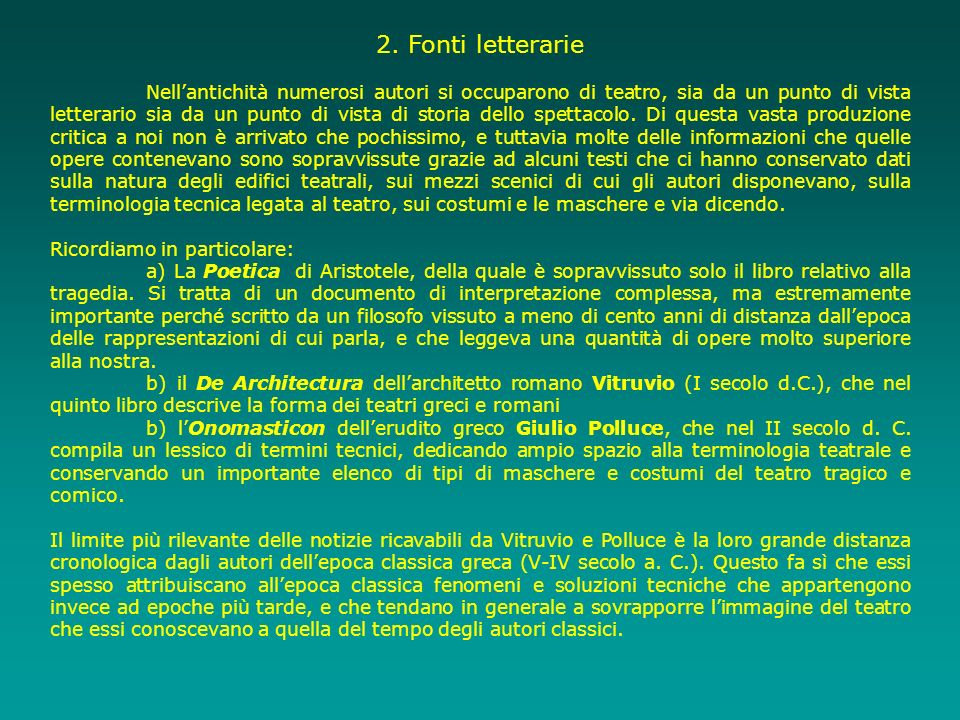 2. Fonti letterarie