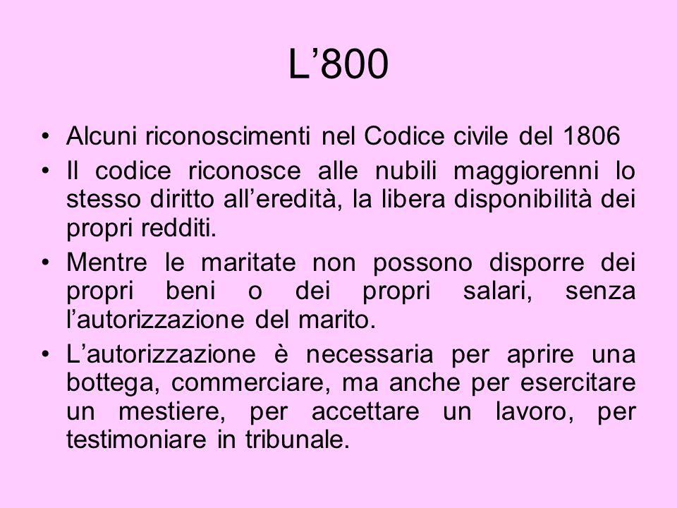 L'800 Alcuni riconoscimenti nel Codice civile del 1806