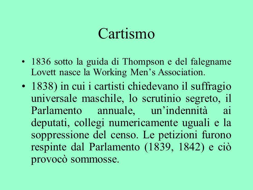 Cartismo 1836 sotto la guida di Thompson e del falegname Lovett nasce la Working Men's Association.