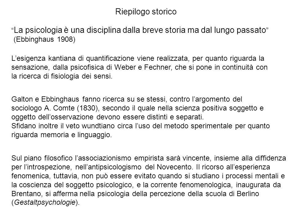 Riepilogo storico La psicologia è una disciplina dalla breve storia ma dal lungo passato (Ebbinghaus 1908)