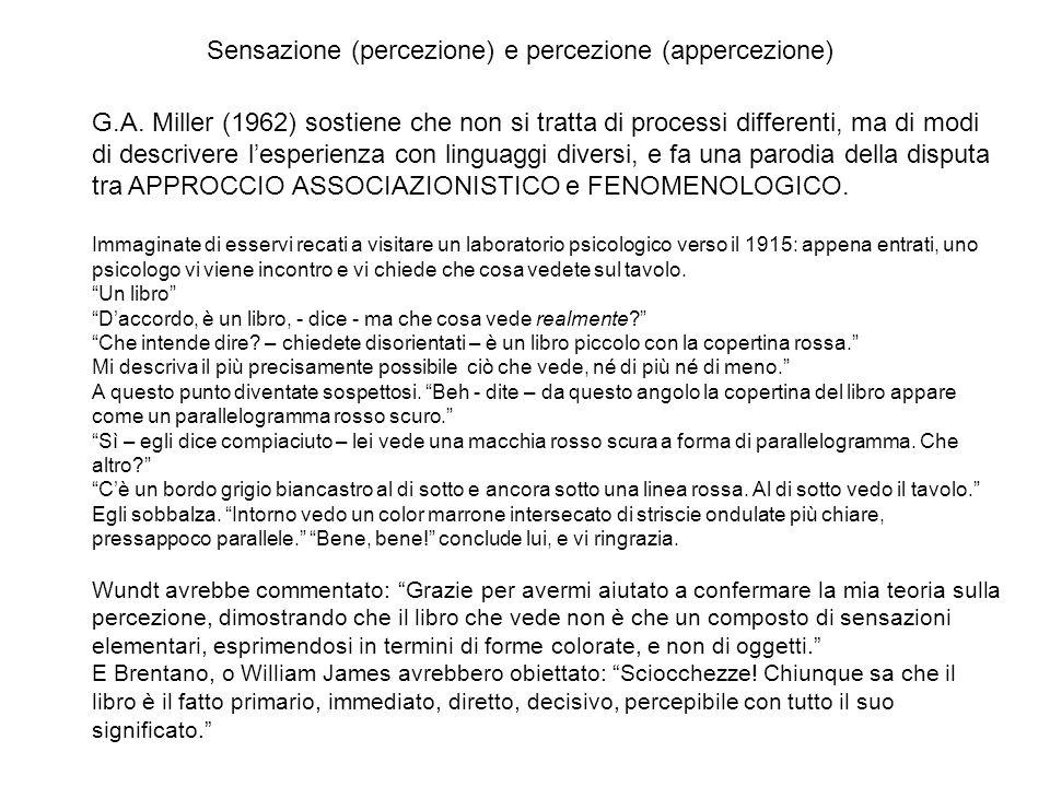 Sensazione (percezione) e percezione (appercezione)