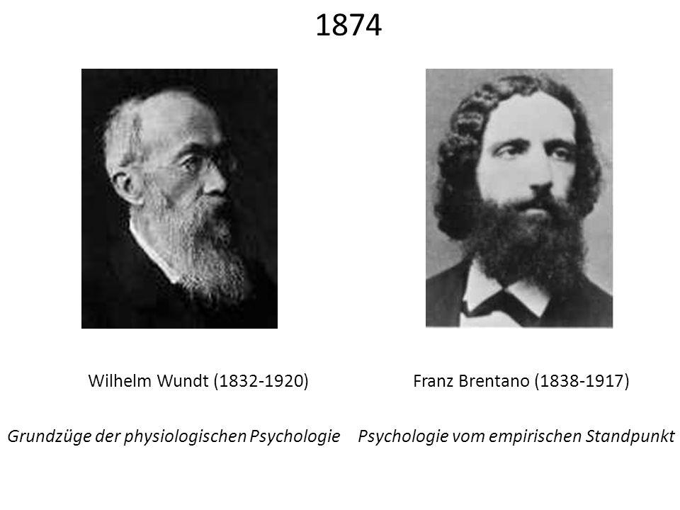 1874 Wilhelm Wundt (1832-1920) Franz Brentano (1838-1917)