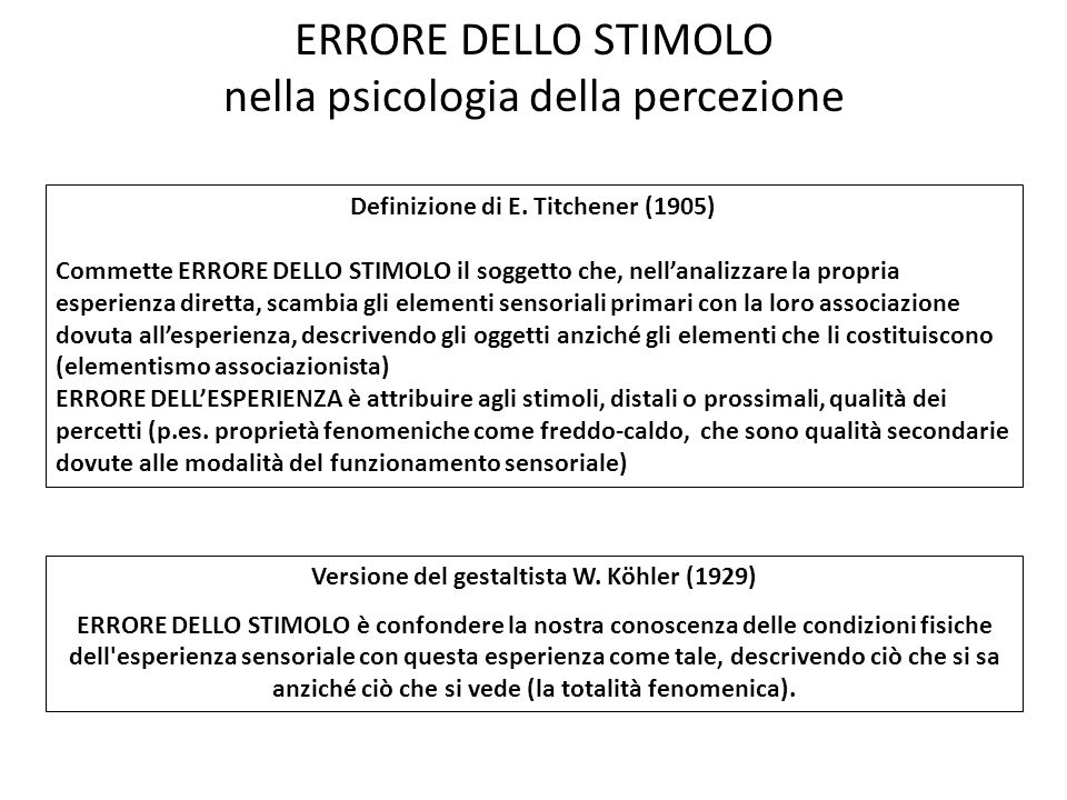 ERRORE DELLO STIMOLO nella psicologia della percezione