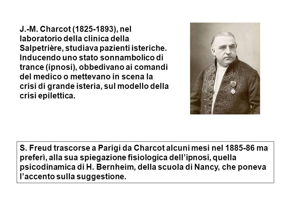 J.-M. Charcot (1825-1893), nel laboratorio della clinica della Salpetrière, studiava pazienti isteriche. Inducendo uno stato sonnambolico di trance (ipnosi), obbedivano ai comandi del medico o mettevano in scena la crisi di grande isteria, sul modello della crisi epilettica.